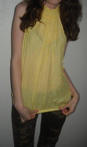 ZARA Basic Long Bluse Shirt Tunika gelb ärmellos Halsbündchen 34 36 38 XS S H M