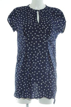 Zara Basic Longshirt blau-weiß Punktemuster Casual-Look