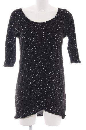 Zara Basic Longshirt schwarz-weiß Allover-Druck Casual-Look