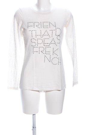 Zara Basic Longsleeve weiß Schriftzug gedruckt Casual-Look