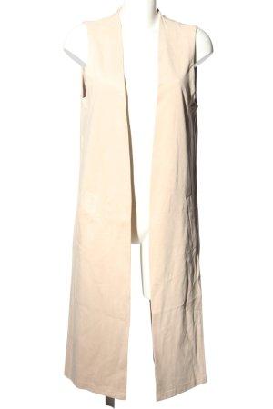 Zara Basic Chaleco de punto largo blanco puro look casual