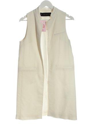 Zara Basic Gilet long tricoté blanc cassé style décontracté