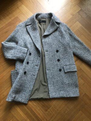 Zara Basic Manteau court beige clair-brun foncé laine
