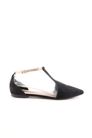 Zara Basic Zapatos Mary Jane negro-blanco puro estilo «business»