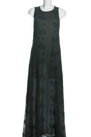 Zara Basic Maxikleid waldgrün Blumenmuster Elegant