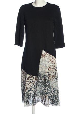 Zara Basic Midikleid schwarz-weiß abstraktes Muster Casual-Look