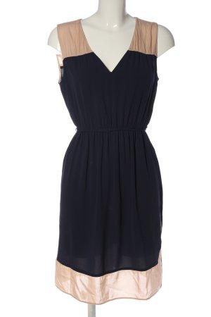 Zara Basic Midikleid blau-creme Casual-Look