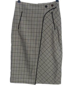 Zara Basic Spódnica midi czarny-biały Na całej powierzchni W stylu biznesowym