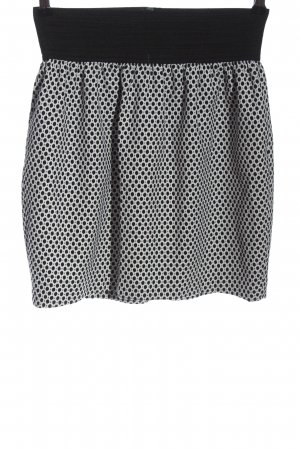 Zara Basic High Waist Skirt black-white spot pattern casual look