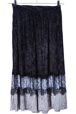Zara Basic Spódnica midi czarny Wzór w paski Elegancki