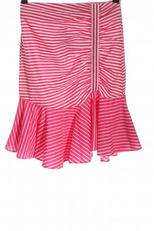 Zara Basic Midirock pink-weiß Streifenmuster Casual-Look