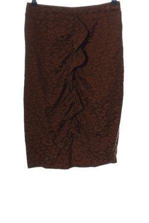 Zara Basic Spódnica midi brązowy Na całej powierzchni W stylu biznesowym