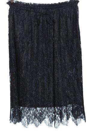 Zara Basic Spódnica midi czarny Siateczkowy wzór W stylu casual