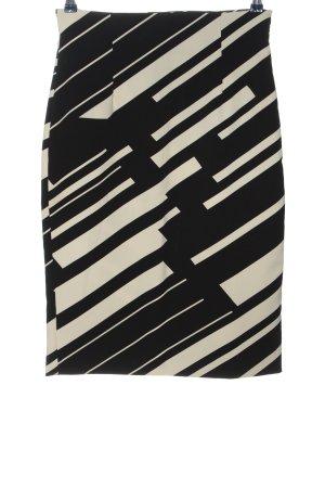 Zara Basic Spódnica midi czarny-w kolorze białej wełny Graficzny wzór