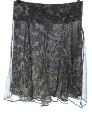 Zara Basic Spódnica midi czarny-niebieski Na całej powierzchni W stylu casual