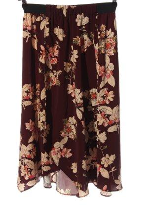 Zara Basic Spódnica midi czerwony-kremowy