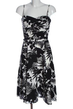 Zara Basic Trägerkleid weiß-schwarz Allover-Druck Elegant