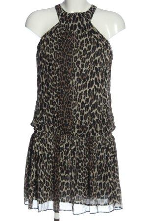 Zara Basic Minikleid schwarz-braun Allover-Druck Elegant
