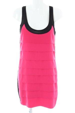 Zara Basic Minikleid neonpink-schwarz Party-Look