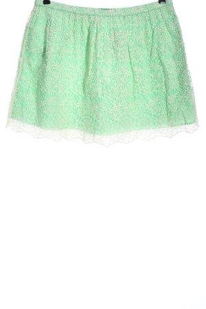 Zara Basic Minirock grün-wollweiß Allover-Druck Casual-Look