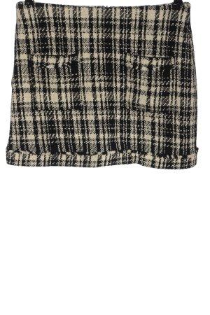 Zara Basic Minirock schwarz-wollweiß Karomuster Casual-Look