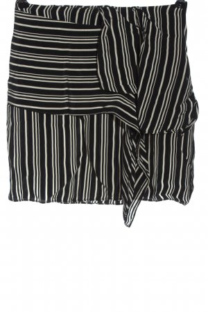 Zara Basic Minirock schwarz-creme Streifenmuster Casual-Look