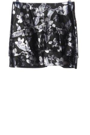 Zara Basic Minirock schwarz-silberfarben Blumenmuster Casual-Look