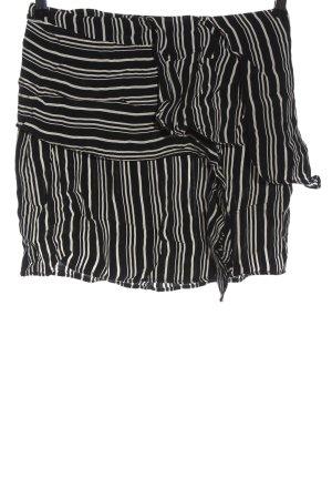 Zara Basic Minirock schwarz-weiß Streifenmuster Elegant