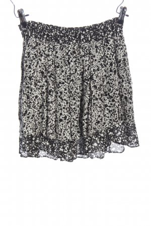 Zara Basic Minirock weiß-schwarz abstraktes Muster Casual-Look
