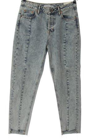 Zara Basic Mom-Jeans blau Casual-Look