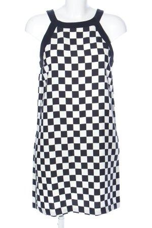 Zara Basic Neckholderkleid weiß-schwarz Allover-Druck Business-Look