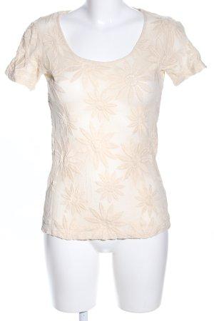Zara Basic Netzshirt wollweiß-creme Blumenmuster Casual-Look
