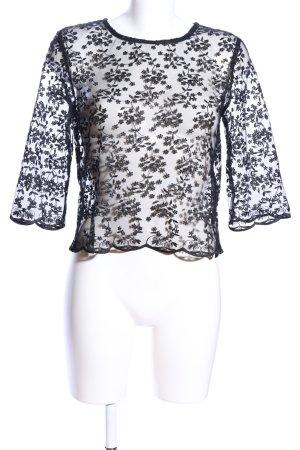 Zara Basic Maglia a rete nero motivo floreale elegante