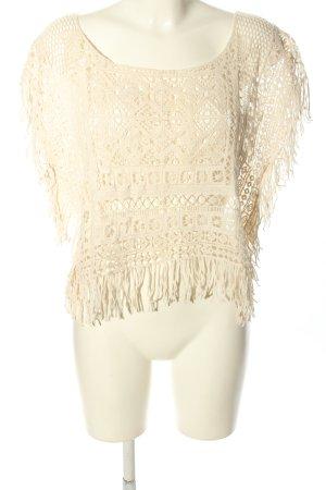 Zara Basic Netzshirt creme Casual-Look