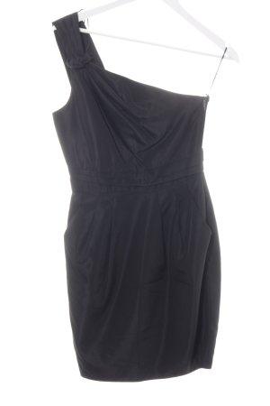Zara Basic One-Shoulder-Kleid schwarz Schimmer-Optik