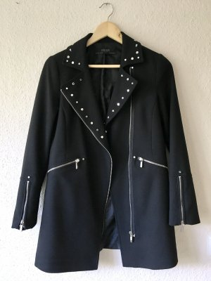 Zara Basic Outerwear Long Nieten Blazer Jacke schwarz Gr. S