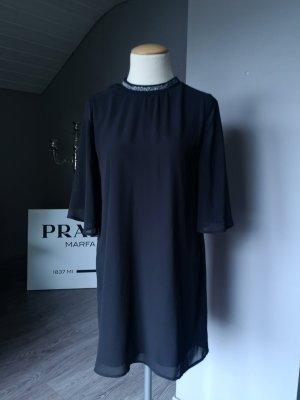 Zara Basic Oversize - Kleid mit silber Detail Gr XS Midi Midikleid Volant Volantkleid edel Oversized elegant Party Business Businesskleid das kleine Schwarze schwarz silber