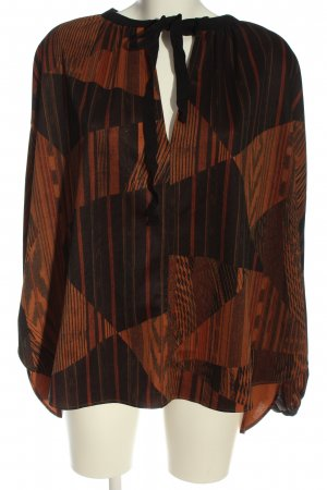 Zara Basic Oversized Blouse brown-black abstract pattern business style