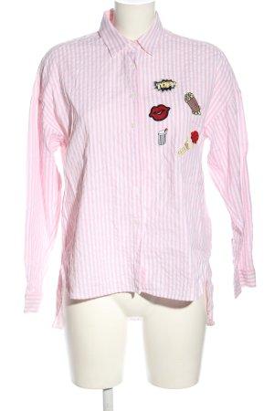 Zara Basic Blusa ancha rosa-blanco estampado repetido sobre toda la superficie