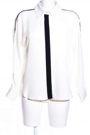 Zara Basic Oversized Bluse weiß-schwarz Casual-Look