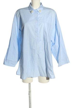 Zara Basic Blouse oversized bleu-blanc cassé style d'affaires