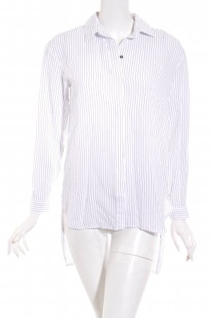 Zara Basic Oversized Bluse weiß-schwarz Streifenmuster