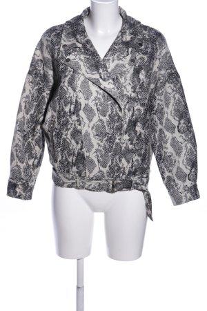 Zara Basic Oversized Jacke schwarz-weiß Animalmuster Casual-Look