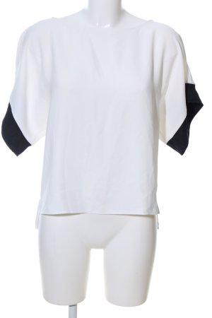 Zara Basic Oversized Shirt weiß-schwarz Casual-Look