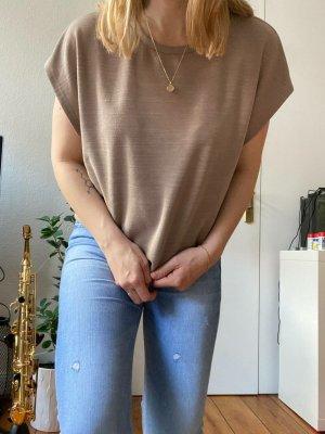 Zara Basic Oversized Shirt beige/braun Gr.M Cropped Sommer