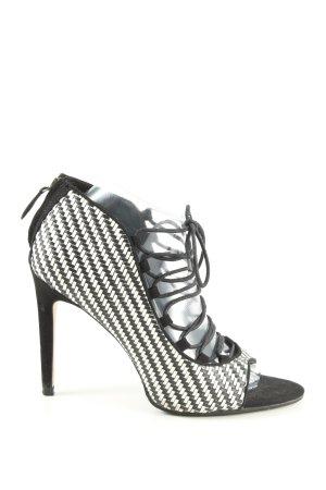 Zara Basic Peeptoe Pumps weiß-schwarz extravaganter Stil