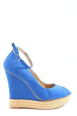 Zara Basic Peeptoe Pumps blau-creme Elegant