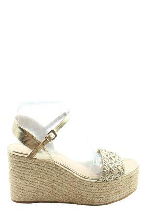 Zara Basic Wedges Sandaletten creme-goldfarben Casual-Look