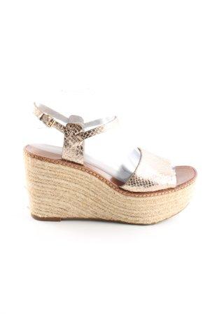 Zara Basic Sandalias de tacón con plataforma crema-marrón elegante