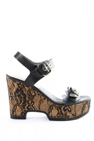 Zara Basic Sandales à talons hauts et plateforme noir-doré élégant
